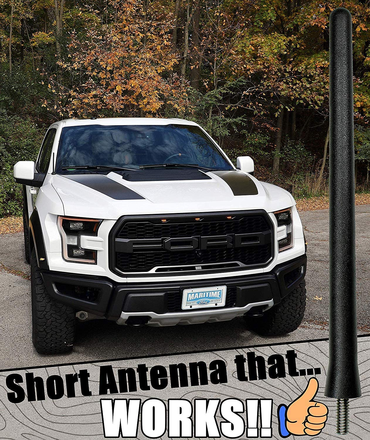 4.8 Inches Designed for Optimized FM//AM Reception TEKK Short Antenna Compatible with 08 to 2012 Ford Escape