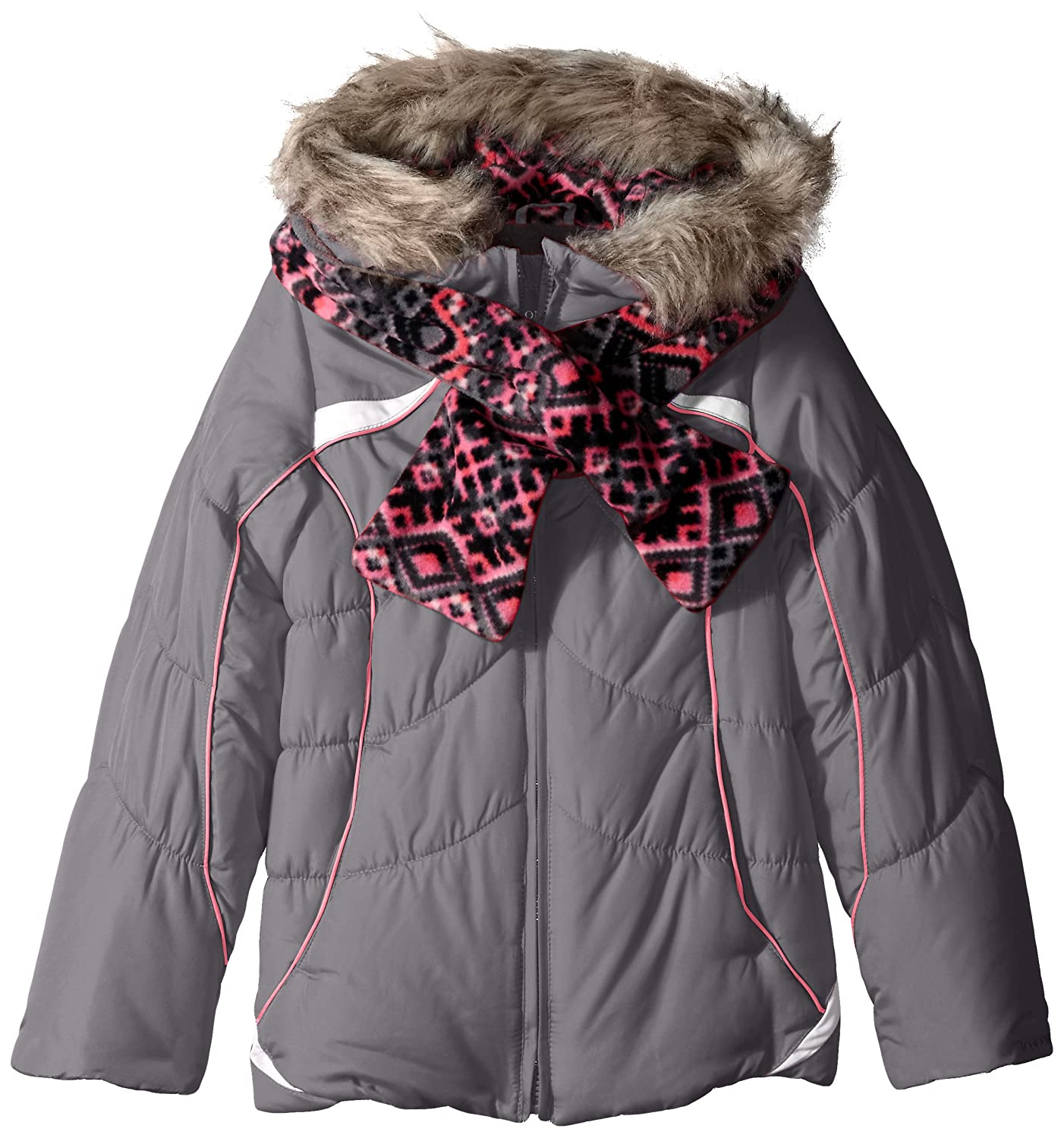London Fog Girls' Active Heavyweight Puffer with Abstract Fleece Scarf 216305