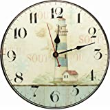 Large Decorative Lighthouse Wall Clock ,Silent Wall Clock Non Ticking for Living Room Kitchen Bathroom Bedroom Decor 14-Inch RELIAN