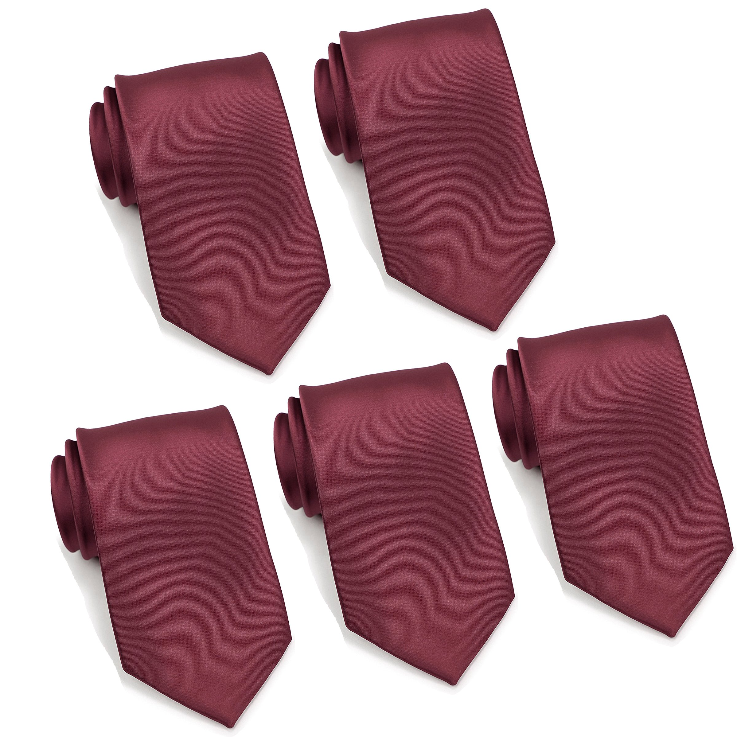 Mens Formal Tie Wholesale Lot of 5 Mens Solid Color Wedding Ties 3.5'' Satin Finish (Burgundy)