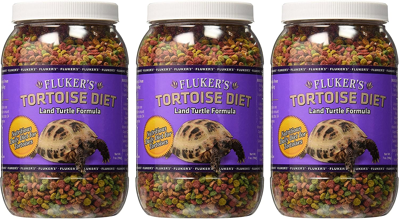 Fluker's Tortoise Diet, 7 Ounces, Land Turtle Formula, Pack of 3, 21 Ounces Total