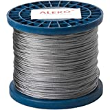 ALEKO WR1/16G304F1000 1/16 Inch 7X7 304 Stainless Aircraft Steel Cable Wire Rope 1000 Feet
