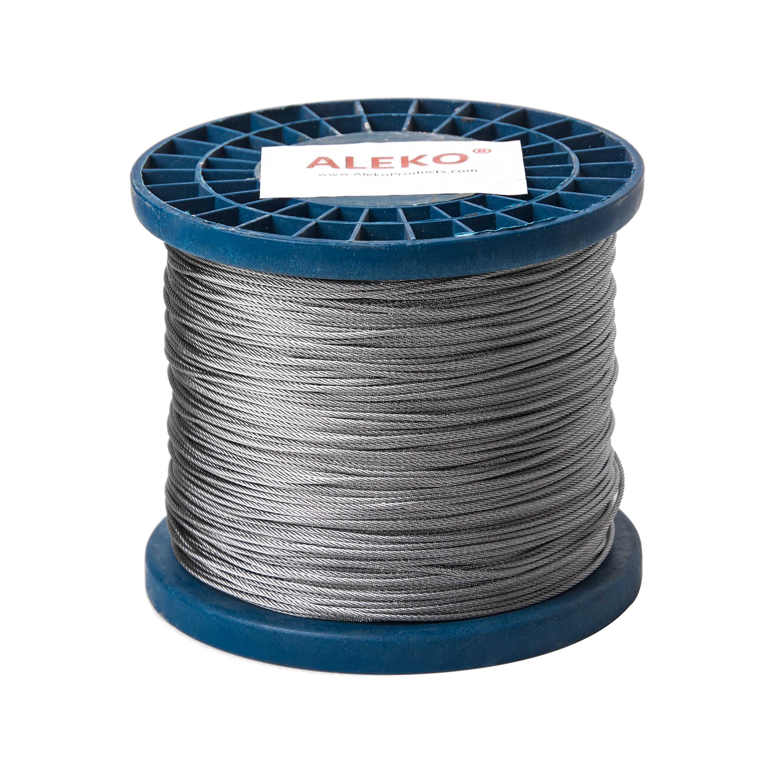 ALEKO WR1/16G304F1000 1/16 Inch Diameter 7 x 7 Strand Galvanized Aircraft Steel Cable Wire Rope 1000 Feet