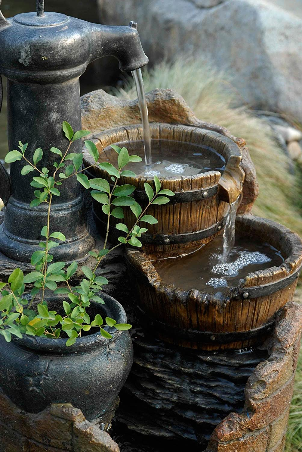 Amazon.com : Glenville Water Pump Cascading Water Fountain : Free Standing Garden  Fountains : Garden U0026 Outdoor