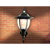 Solar Powered Wall Lamp- Motion Activated Security Lights- Wireless Outdoor Lantern- Beautiful Light Fixture- Garden Décor Accent Lighting- Best for Patio, Pool, Yard, Deck (Black) (1)