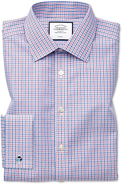 Charles Tyrwhitt Camisa Azul y roja de Popelina Slim fit sin Plancha: Amazon.es: Ropa y accesorios