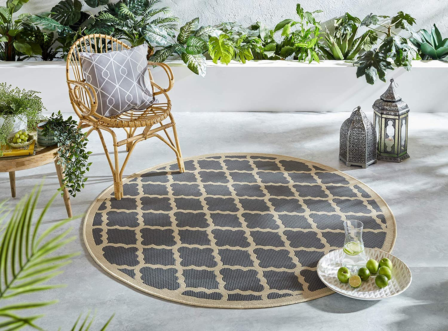Lord Of Rugs Florence Alfresco Padua Geometric Pattern Flatweave Outdoor And Indoor Rug Beige Anthracite 160x160 Cm 5 3 X5 3 Round Amazon Co Uk Kitchen Home