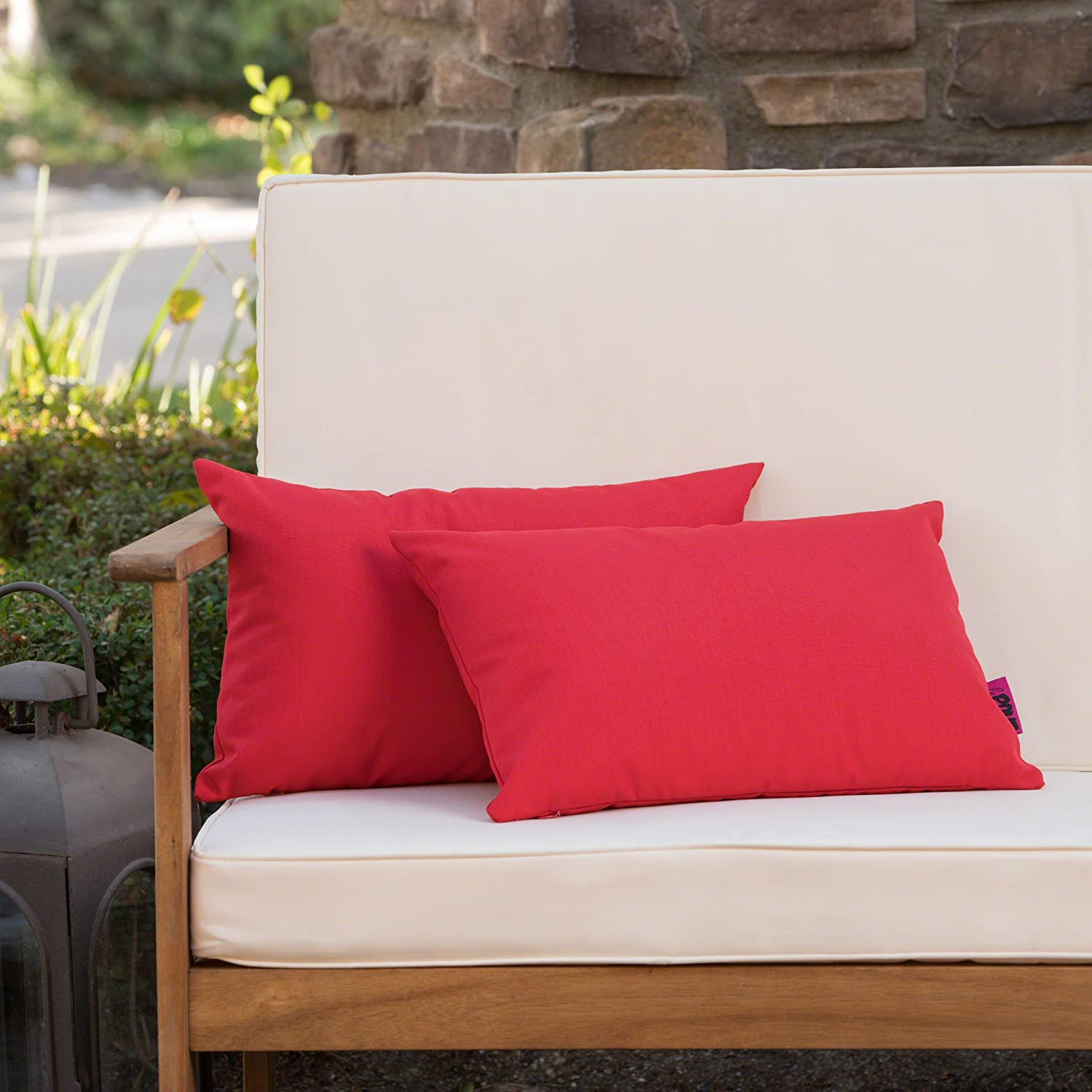 Christopher Knight Home Coronado Outdoor Red Water Resistant Rectangular Throw Pillow Set of 2