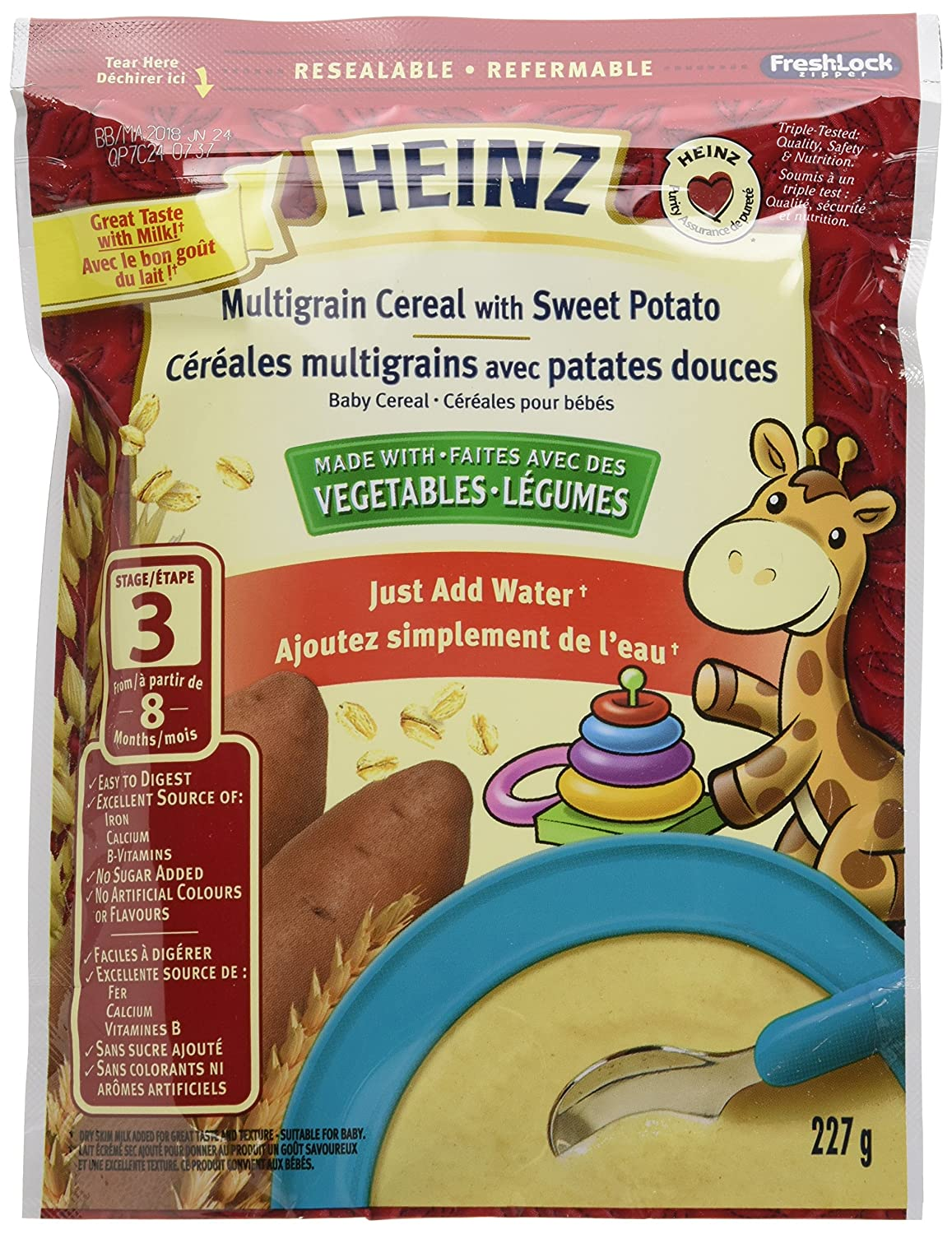 HEINZ Multigrain Cereal with Sweet Potato, 6 Pack, 227G Each 6 Pack Kraft Heinz Canada ULC