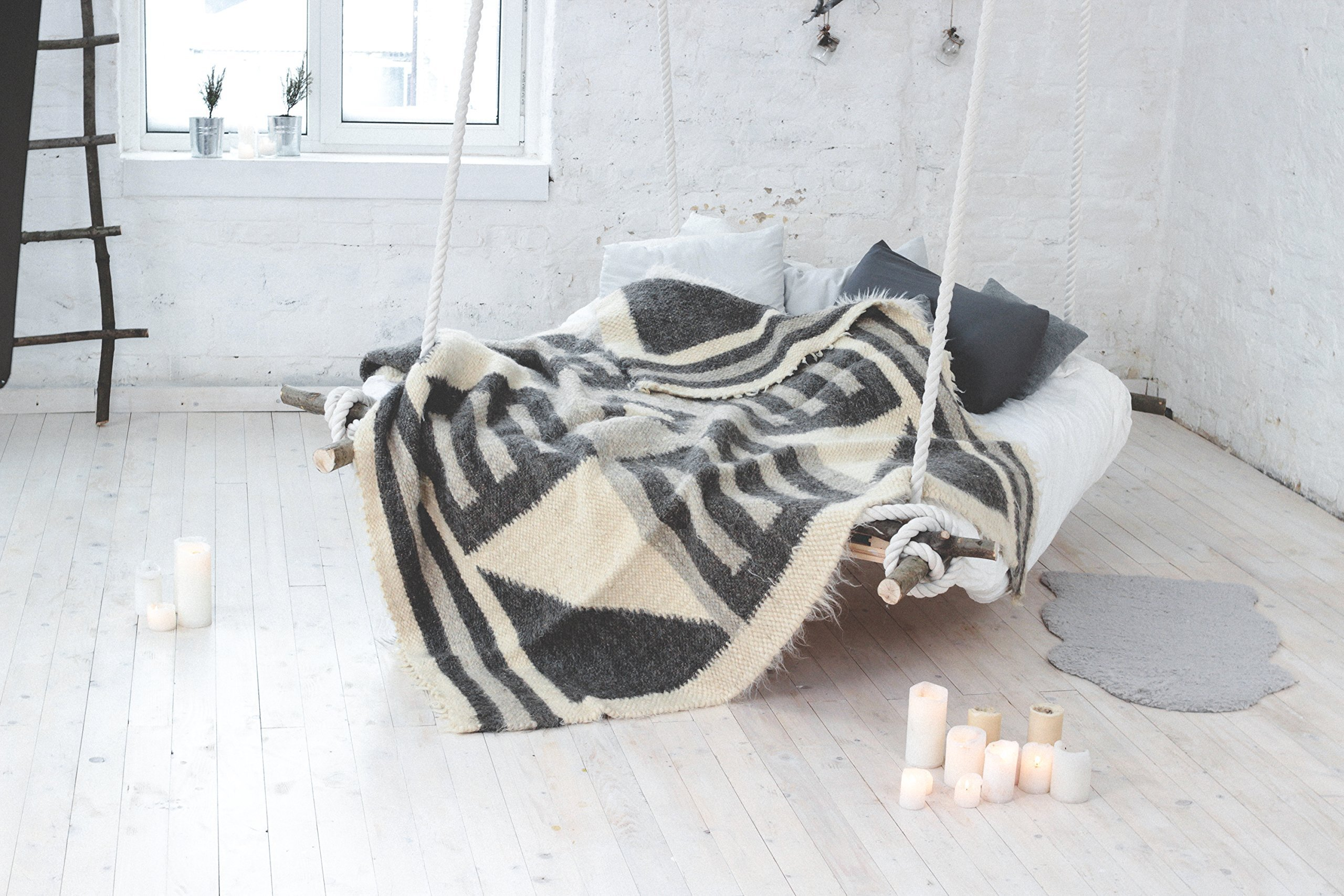 Grey Wool Throw Blanket Queen Size Scandinavian Wool Bedding Warm Bed Blanket Sofa Coverlet by Handmade throw blankets and wool items