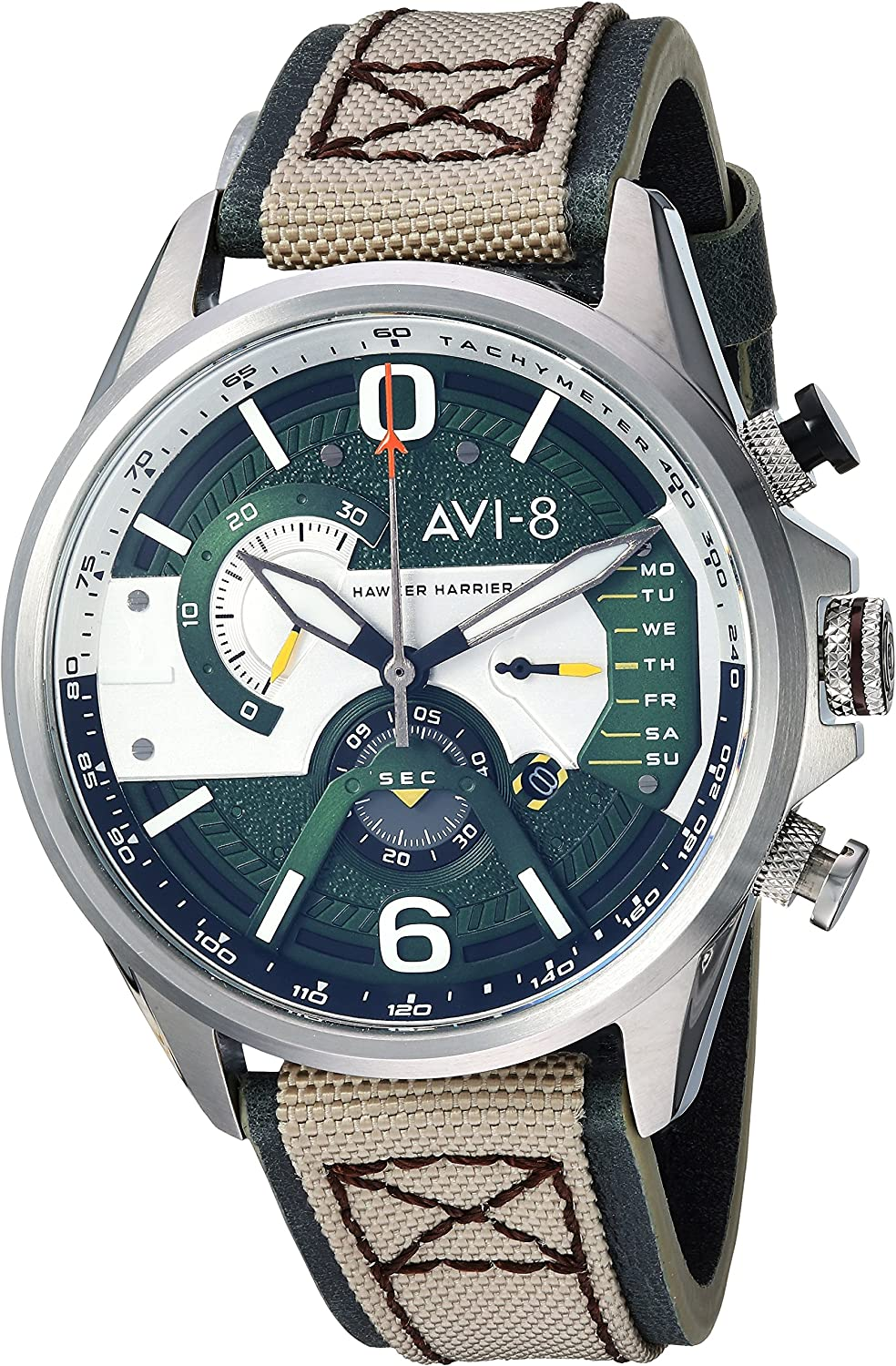AVI-8 Men's 'Hawker Harrier II' Quartz Stainless Steel and Leather Aviator Watch