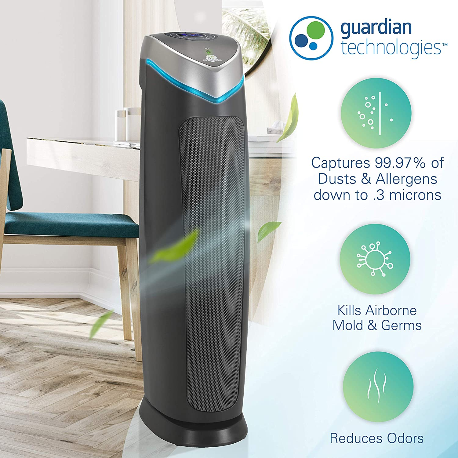 Germ Guardian AC5250PT 28 3-in-1 True HEPA Filter Air Purifier for Home and Pets, Large Rooms, UV-C Sanitizer, Filters Allergies, Smoke, Dust, Dander, Odors, 5-Yr Wty, GermGuardian, Grey