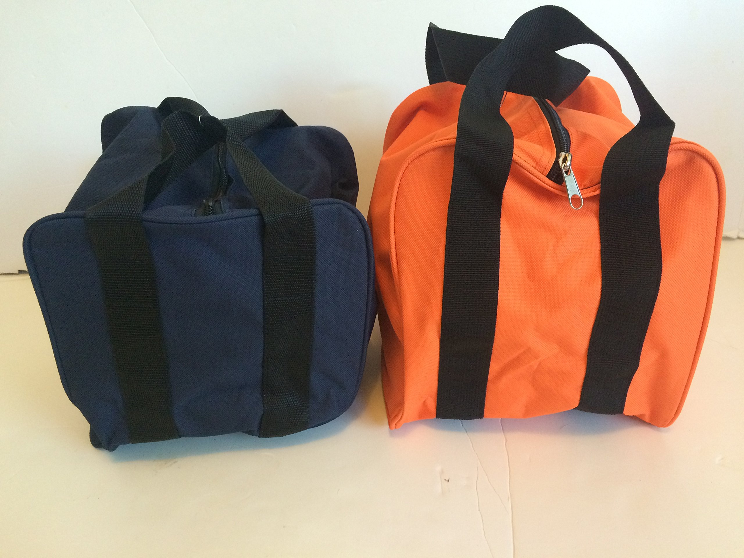 Unique Package - Pack of 2 Extra Heavy Duty Nylon Bocce Bags - Blue with Black Handles andOrange with Black Handles