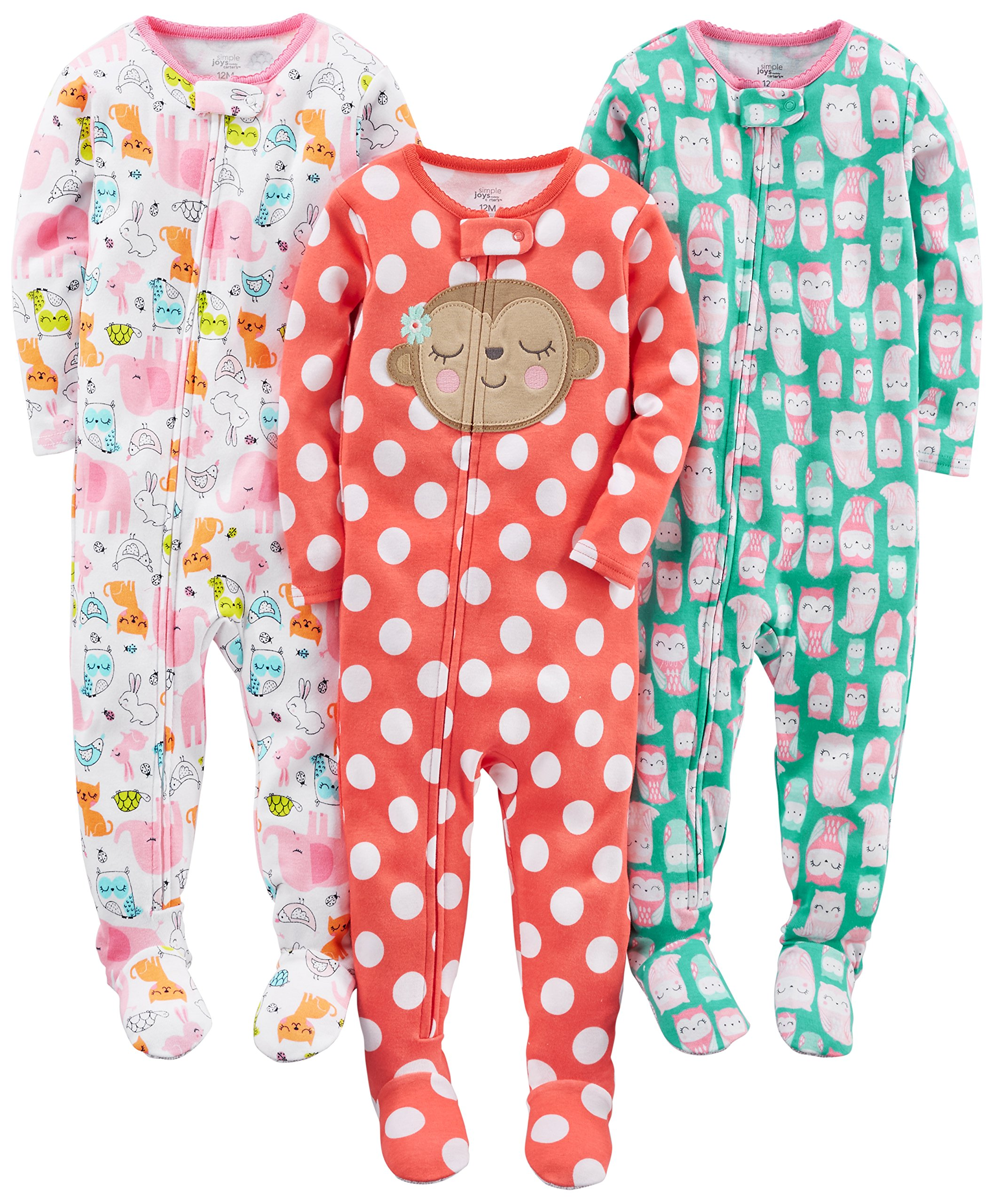 Simple Joys by Carter's Baby Girls 3-Pack Snug Fit Footed Cotton Pajamas, Owl/Monkey/Animals Green, 12 Months by Simple Joys by Carter's