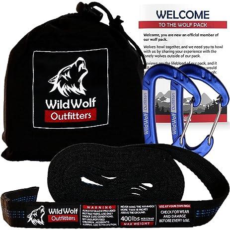 1 pro hammock straps w  2 carabiners   wild wolf outfitters   20 u0027 amazon     1 pro hammock straps w  2 carabiners   wild wolf      rh   amazon