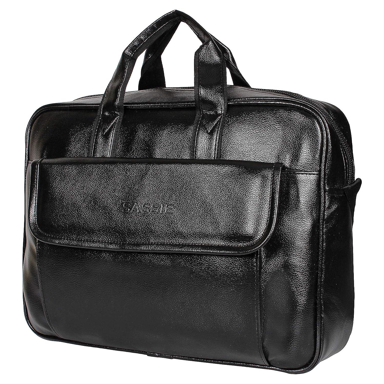 Sassie Leatherette 12 LTR Black Office Bag, Laptop Briefase,