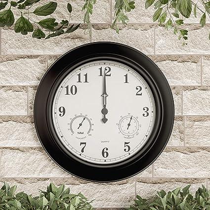 "Pure Garden Wall Thermometer-Indoor Outdoor Decorative 18"" Quartz  Battery-Powered, Waterproof - Amazon.com: Pure Garden Wall Thermometer-Indoor Outdoor Decorative"
