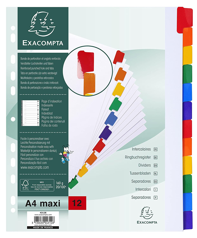 Exacompta 4312E Divisori e Segnaletica, 29.70 x 24.50 x 0.10 cm, Bianco 948239