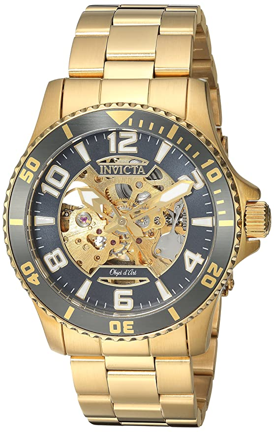 Amazon.com: Invicta Mens Objet D Art Automatic-self-Wind Watch with Stainless-Steel Strap, Gold, 22 (Model: 22604: Invicta: Watches