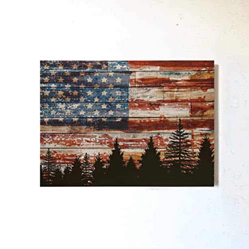 Amazon Com Vintage American Flag Decor Patriotic Wall Art Printed Wooden Block Picture Forest Hanging Print Home Decorations For Living Room Dining Farmhouse Housewarming Gifts For New Home Handmade