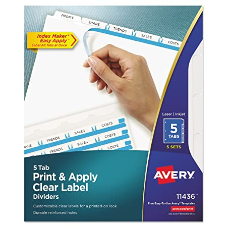 amazon com avery 11436 print apply clear label dividers w white