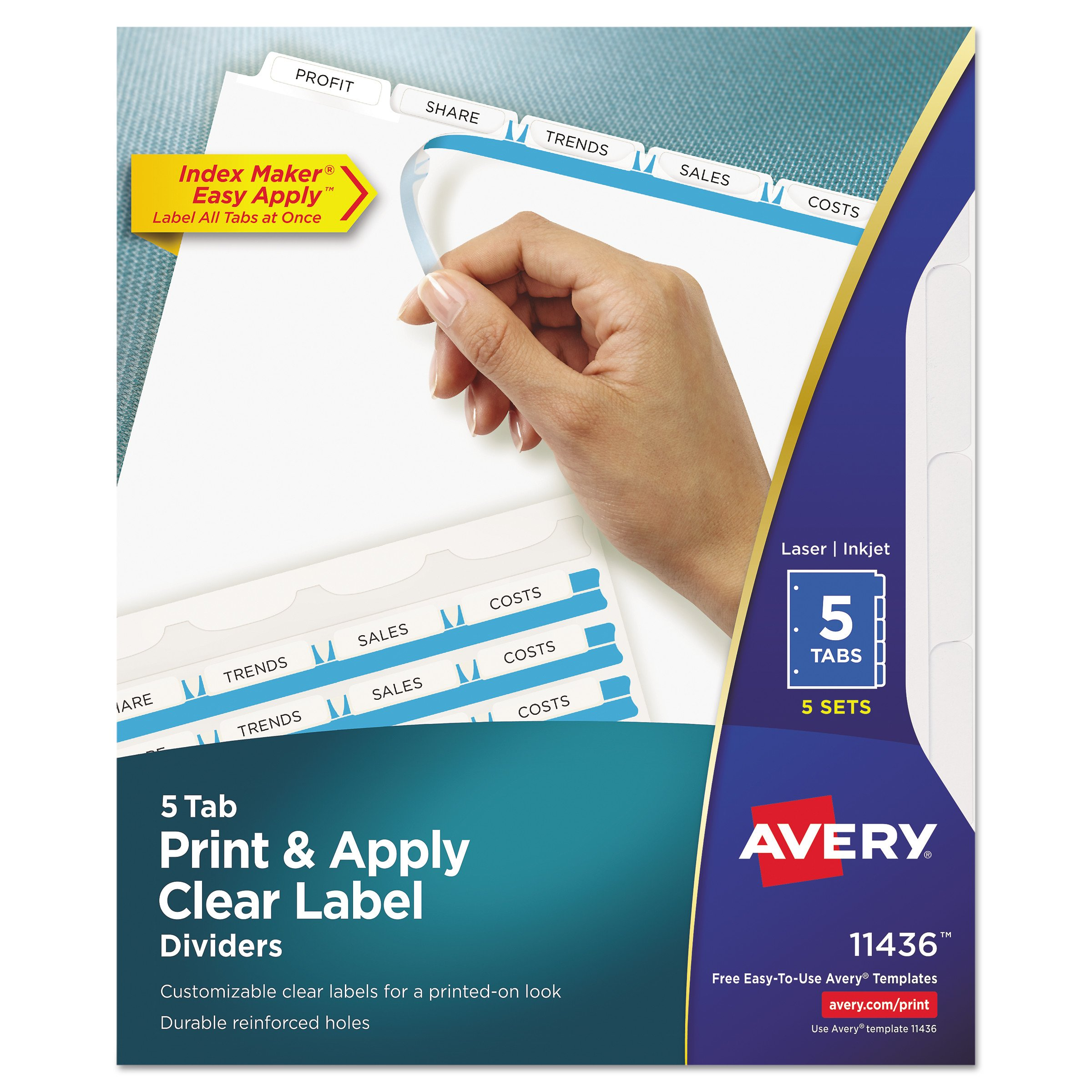 Avery 11436 Print & Apply Clear Label Dividers w/White Tabs, 5-Tab, Letter (Pack of 5 Sets)