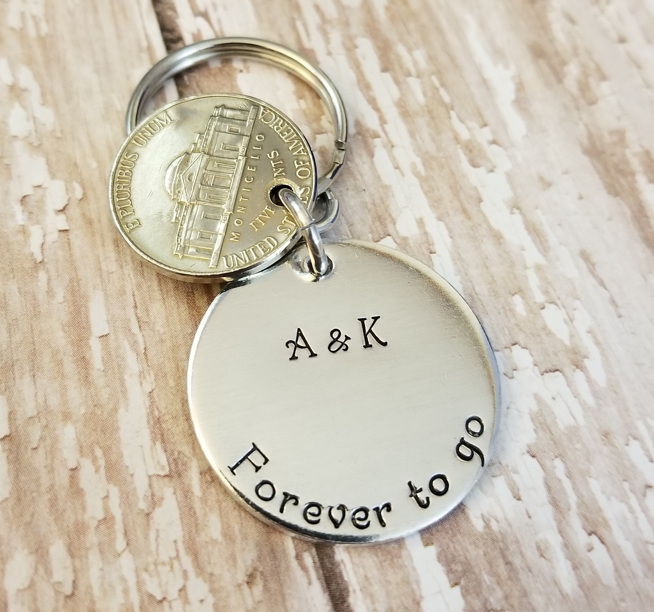 6 Down Forever To Go 2012 Year Nickel and Lucky Penny Key Chain 6th Anniversary Gift by Tucker's Trinkets And Treasures