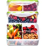 Bento Box Lunch Containers (3 Pack, 39 Ounces) - Bento Boxes for Adults, Lunch Boxes for Kids, 3 Compartment Food…