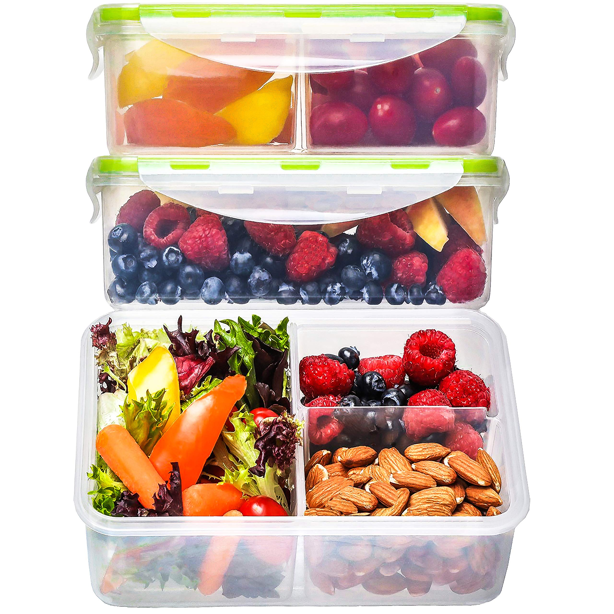 Bento Box Lunch Containers [3, 38 Oz] - Boxes for Adults, 3 Compartment Food with Lids, Containers, Kids, Amazon.com: