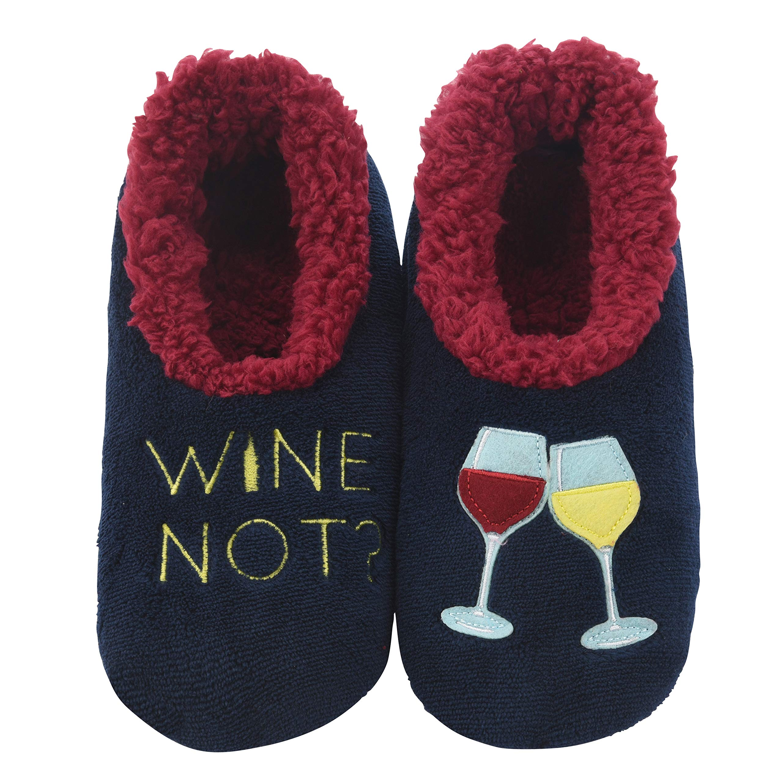 Snoozies Womens Classic Splitz Applique Slipper Socks   Wine Not?   X-Large by Snoozies