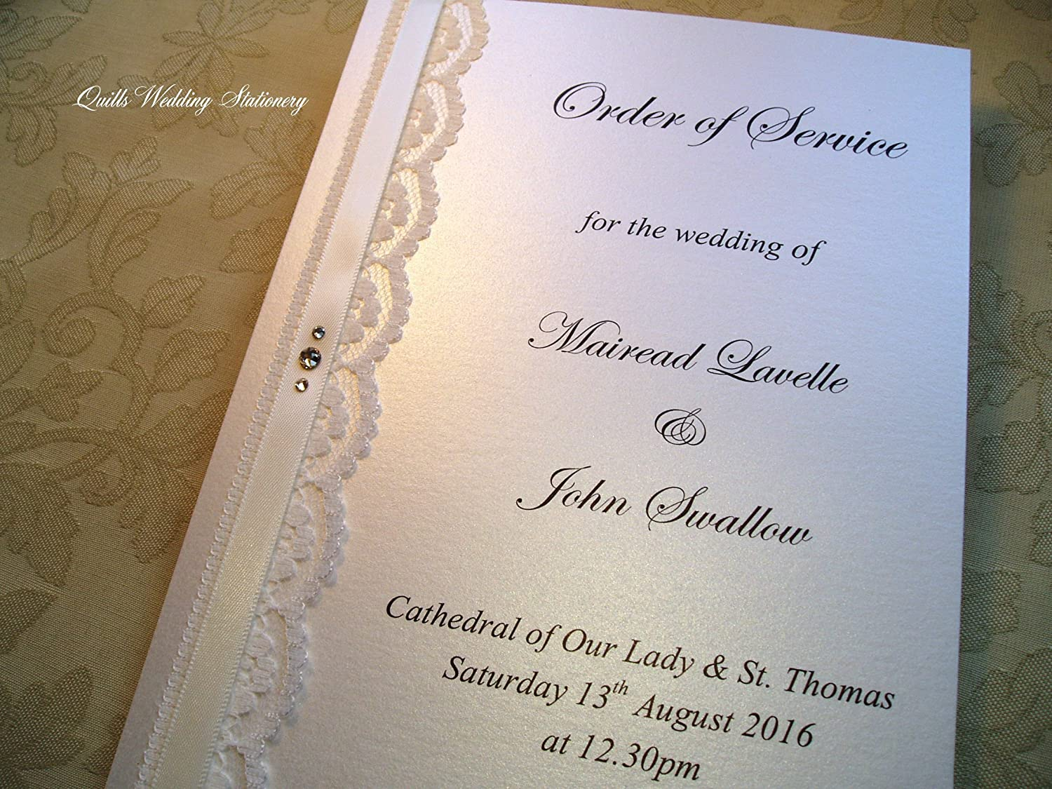 Order Of Service For Weddings Vintage Style Wedding Ceremony Booklet Decorated With Lace Satin Ribbon Swarovski Crystals Amazon Co Uk Handmade