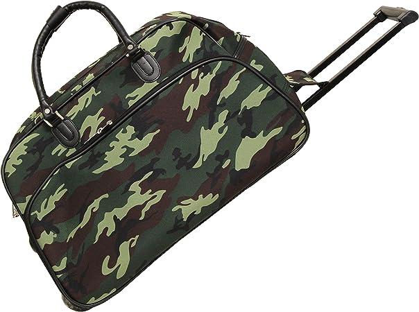 World Traveler 21 Inch Carry On Rolling Duffel Bag Green Camo Travel Duffels