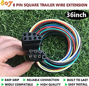 Amazon.com: 807 2/3/4/5/6/8 Way Male and Female Trailer Wire Extension  Connector,2/3/4/5/6/8 pin Trailer Plug 36inch for LED Brake Tailgate Light  Bars,Trailer Wiring Harness Extension Connector(8 Way Square): AutomotiveAmazon.com