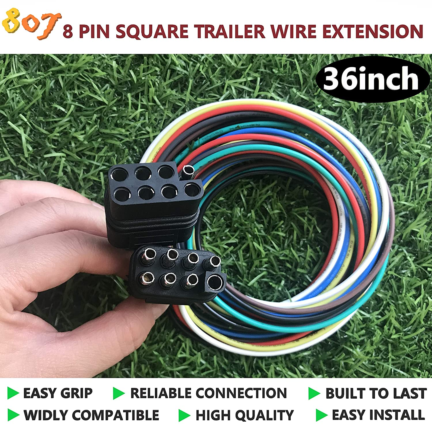 807 5-pin Trailer Wire Extension 36inch for LED ke ... on