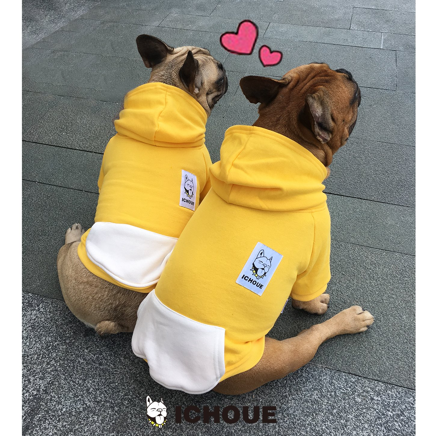 iChoue Pets Dog Clothes Hoodie Hooded French Bulldog Costume Pullover Cotton Winter Warm Coat Puppy Corgi Clothing - Yellow/Size M by iChoue (Image #6)