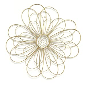 Stratton Home Decor S07729 Wire Flower Wall Decor, 21.50 W x 0.50 D x 21.50 H, Gold