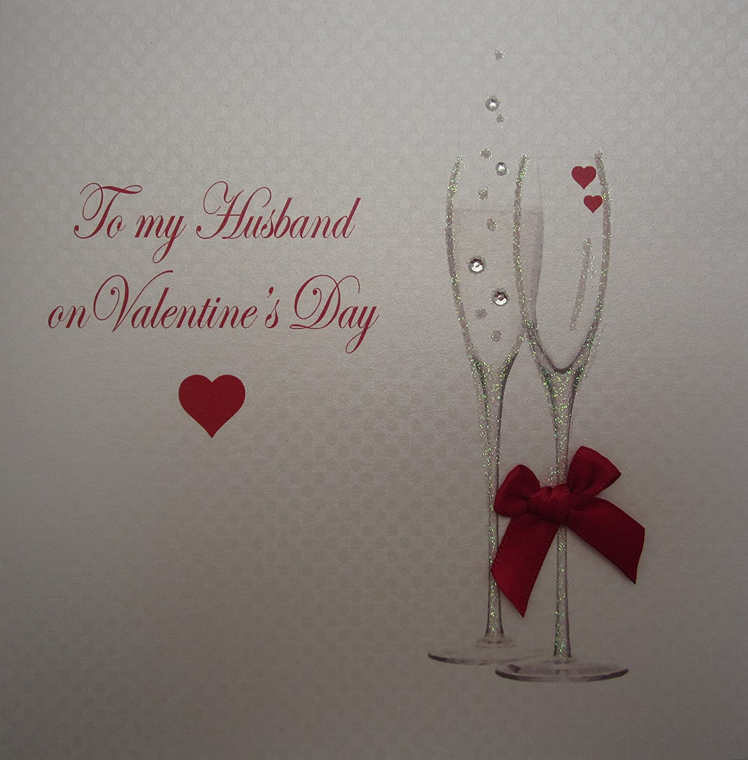 White cotton cards champagne flutes to my husband on valentines day white cotton cards champagne flutes to my husband on valentines day handmade valentines day card white amazon kitchen home m4hsunfo