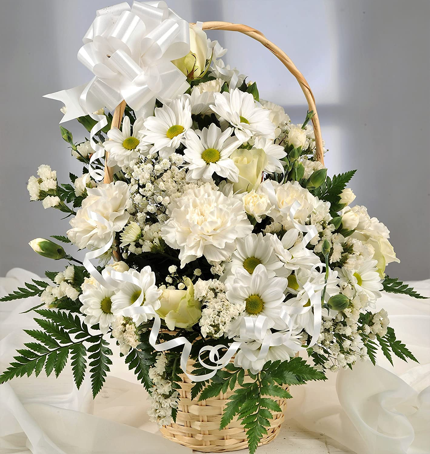 White fresh flower gift basket with handwritten card flowers white fresh flower gift basket with handwritten card flowers delivered next day uk free in a mightylinksfo