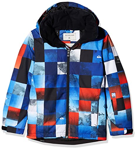 Quiksilver Mission Printed Youth Jk Chaqueta para Nieve, Ninos, Azul (Mandarin Red Pattern_1