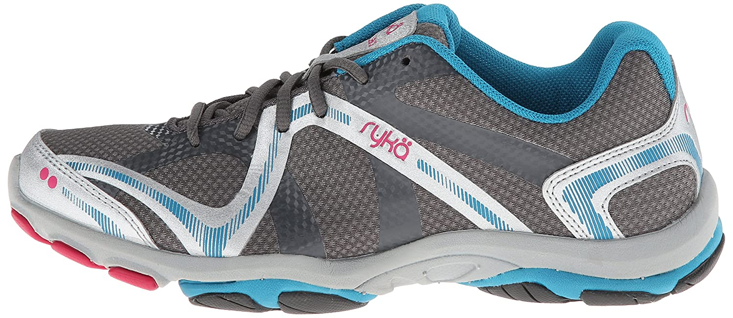 RYKA Women's Influence Training Shoe,Steel Grey/Chrome Silver/Diver Blue/Zuma Pink,9.5 M US