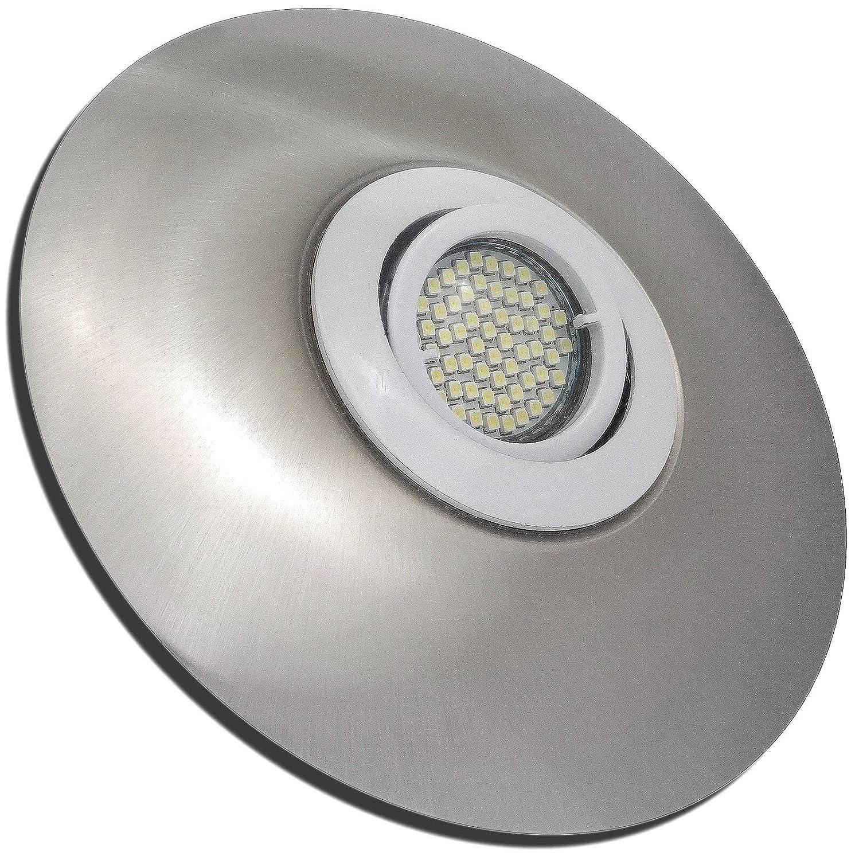 3 Stück SMD LED Einbaustrahler Big Lana 230 Volt 9 Watt Schwenkbar Weiß + Edelstahl geb.   Warmweiß