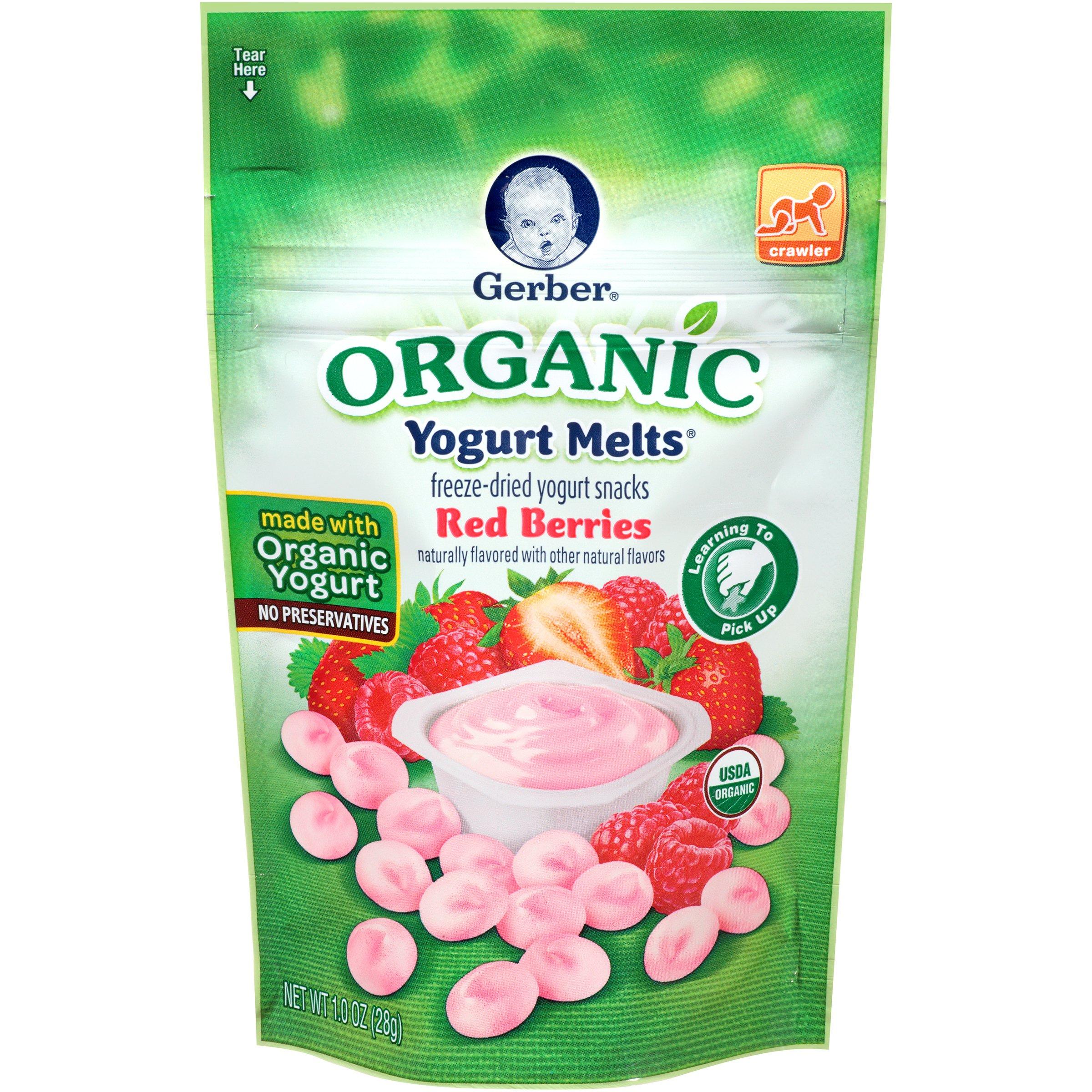Gerber Organic Yogurt Melts, Red Berries, 1 oz