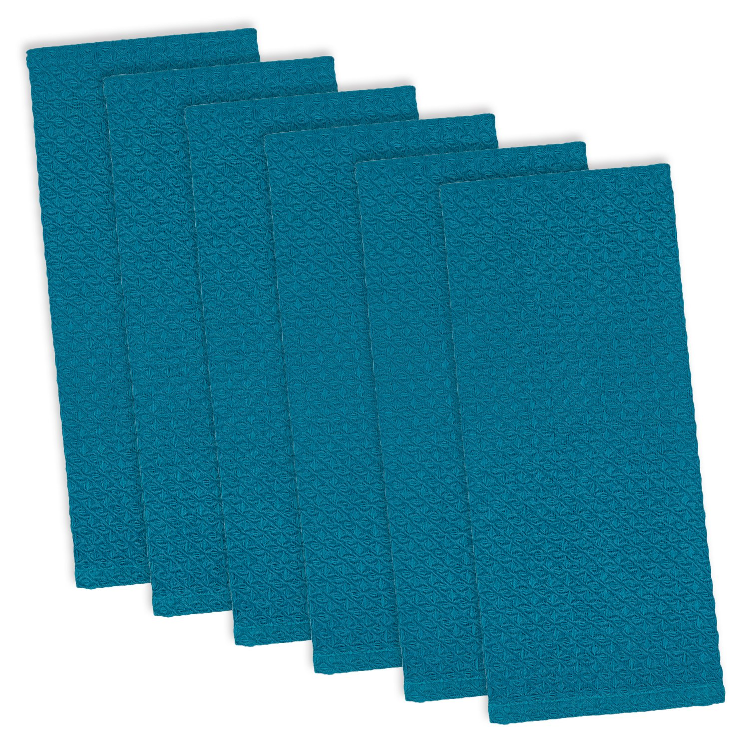 DII 100% Cotton, Ultra Absorbent, Drying & Cleaning, Everyday Kitchen Basic, Waffle Terry Kitchen Dish Towels, 18x28'' Set of 6 - Lake Blue