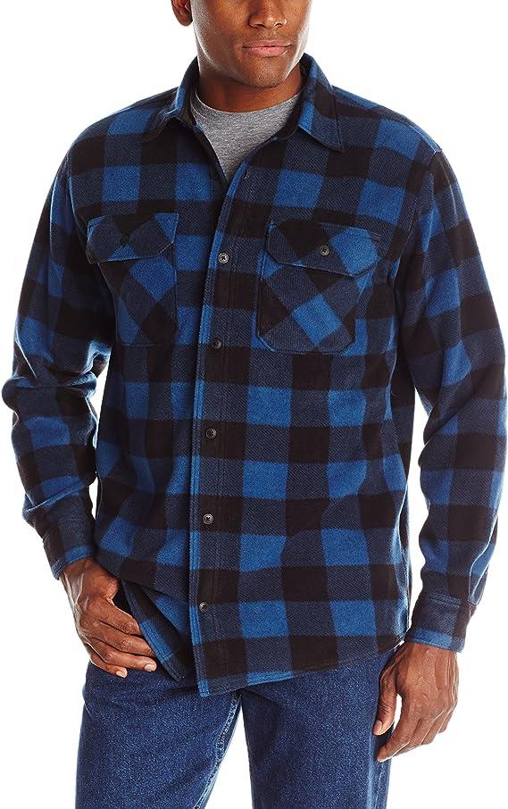 Wrangler mens Long Sleeve Plaid Fleece Jacket Button Down Shirt, Blue Buffalo Plaid, X-Large US at Amazon Men's Clothing store