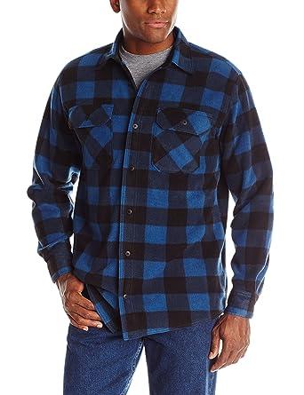 Wrangler Authentics Mens Long Sleeve Plaid Fleece Shirt, Blue Buffalo Plaid, Small