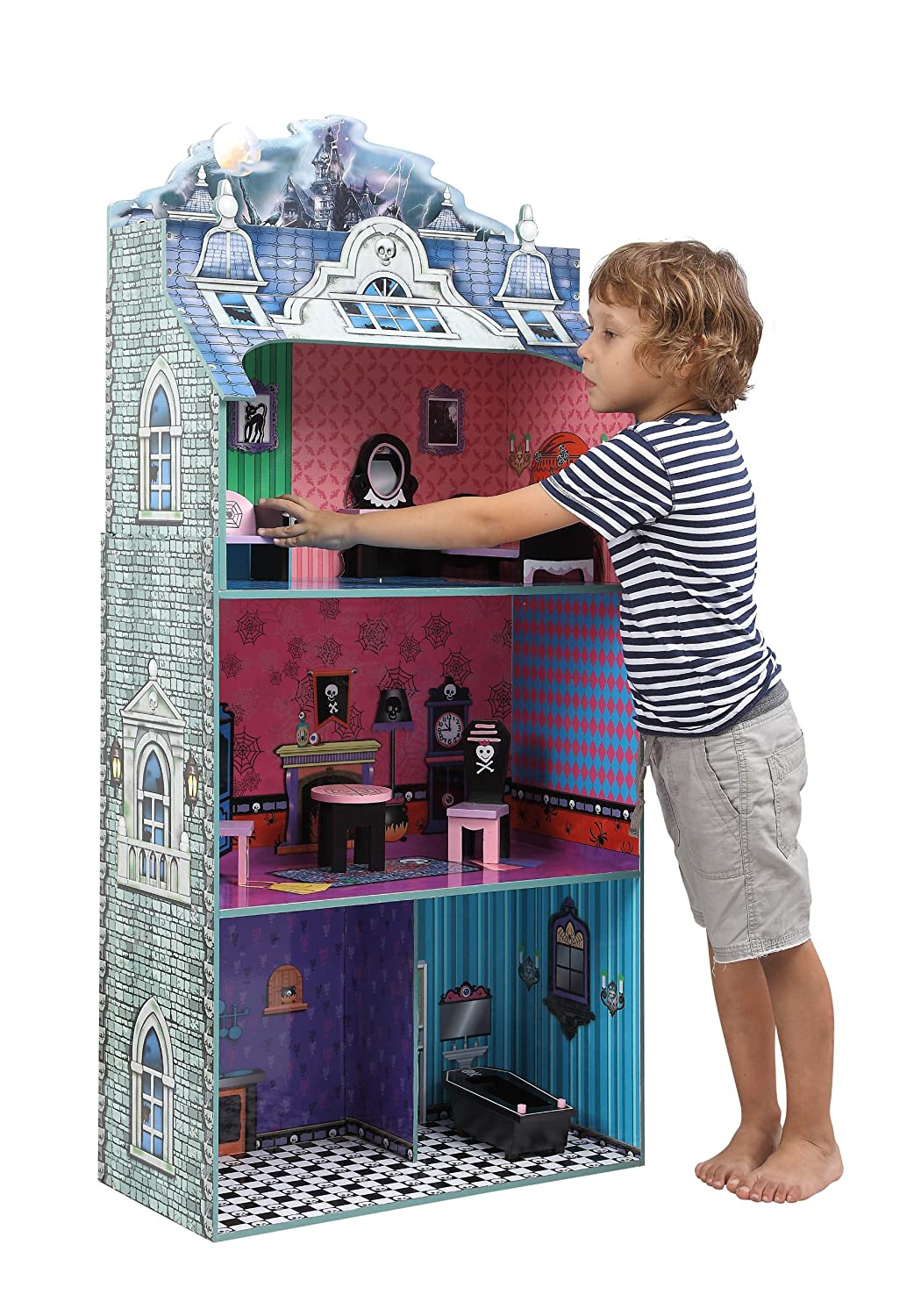 Amazon.com: Teamson Kids   Monster Mansion Wooden Doll House With 7 Pcs  Furniture For 12 Inch Dolls: Toys U0026 Games