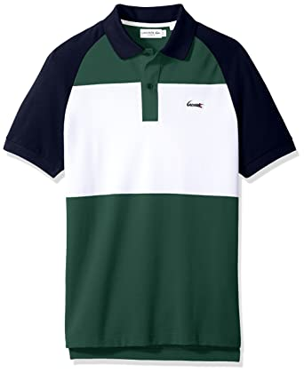 5d278c28c21c6 Lacoste Men s Short Sleeve Color Block Life Stripe Pique Classic Polo