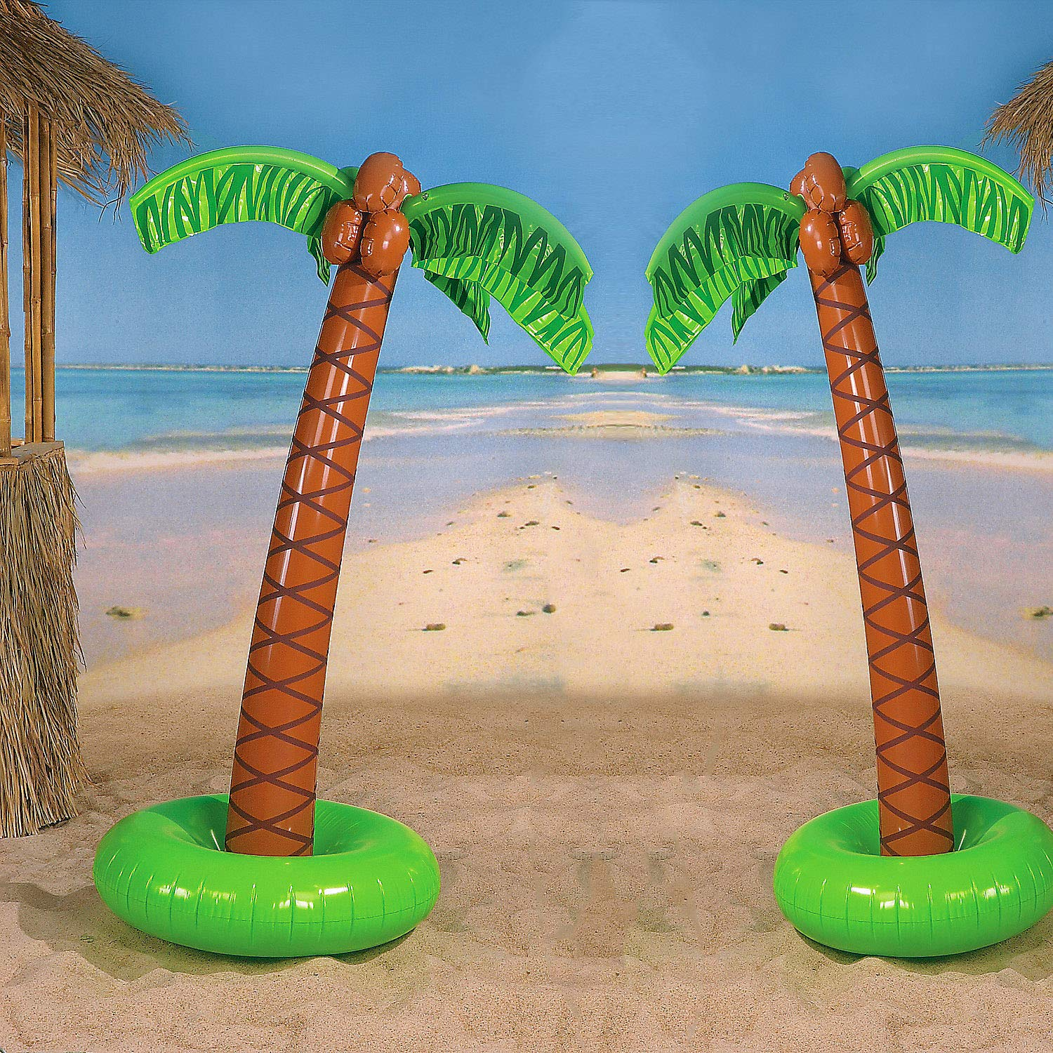 4E's Novelty Pack of 2 Large Palm Tree Vinyl Inflates, 5ft Inflatable Trees Great Decoration for Pool and Beach Parties