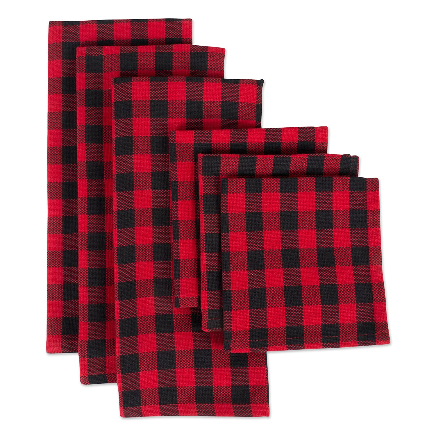 "DII CAMZ10628 Cotton Plaid Kitchen Set, Dishcloth: 18"" x 28""/Dishtowel: 13"" x 13"", Red and Black 6 Pack"