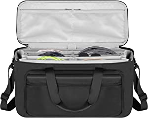 BUBM Large Travel Gig Band Cable File Bag,with Double Separate Bags, Musical Instrument Cable & Accessories Organizer Laptop Bag for 13inch MacBook.